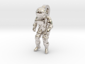 Astronaut Earring Pendant / 21mm in Rhodium Plated Brass