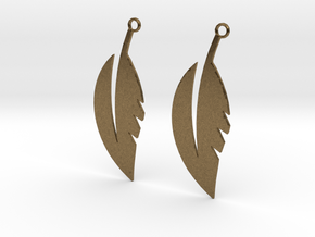 Feather Earrings in Natural Bronze