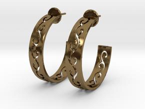 Carved Hoop Earrings in Polished Bronze
