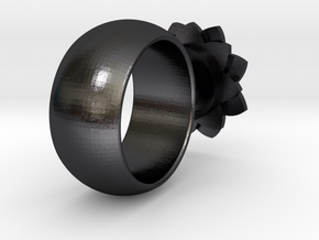 Perfume Ring in Polished and Bronzed Black Steel