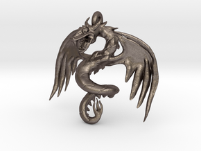 Dragon pendant in Polished Bronzed Silver Steel