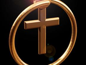 Keyring with Cross in Polished Bronzed Silver Steel
