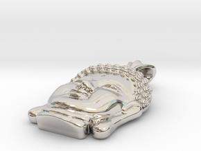 Buddha Head pendant in Rhodium Plated Brass