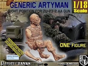 1/18 Right Artyman for ZU-23-2 AA Gun in White Natural Versatile Plastic