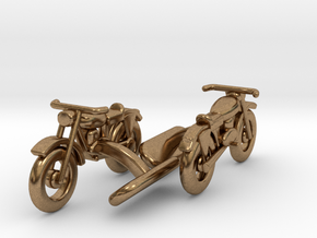 Motorcycle Cufflinks in Natural Brass
