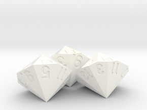 Set of 3 Dice: d14, d16 and d18 in White Processed Versatile Plastic