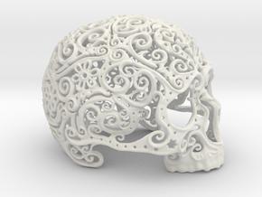 Intricate Filigree Skull 15cm in White Natural Versatile Plastic