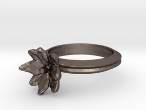 Simple Lotus Flower Ring in Polished Bronzed Silver Steel
