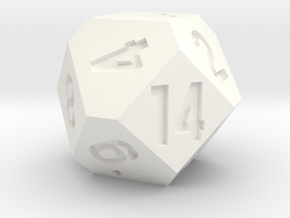 d14 Cuboctahedron Variant in White Strong & Flexible Polished
