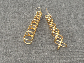 XOXO Tower - Pair of Metal Earrings in Polished Brass
