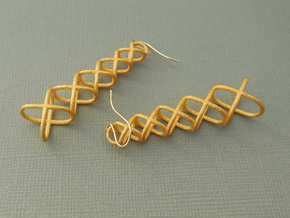 XOXO Tower - Pair of Metal Earrings in Polished Gold Steel