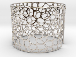 Voronoi Bracelet (Sizes S M L) #unique in Rhodium Plated Brass: Medium