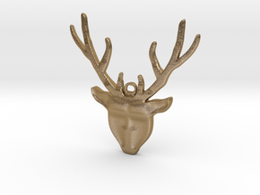 Deer head with antlers - Pendant in Polished Gold Steel