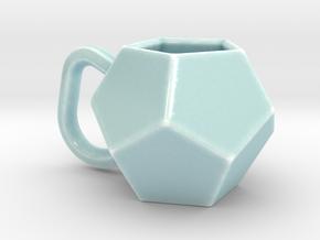 Dodecahedron Mug in Gloss Celadon Green Porcelain
