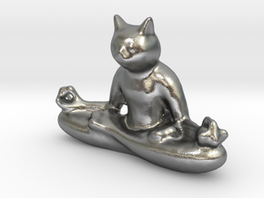Meditating Cat in Natural Silver: Extra Small