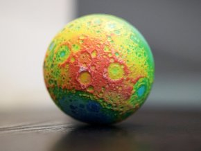 Topographic Moon in Full Color Sandstone