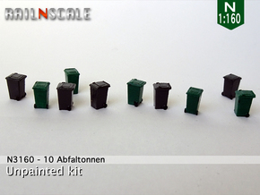 10 Abfalltonnen (N 1:160) in Smooth Fine Detail Plastic