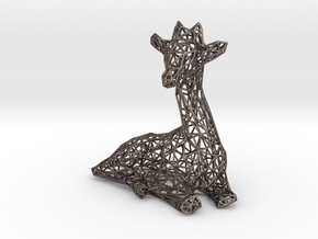 Giraffe wire frame in Polished Bronzed Silver Steel: Extra Small