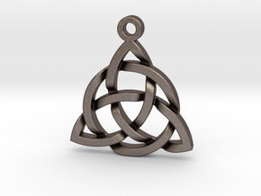 Triquetra Celtic Knot Good Luck Pendant  in Polished Bronzed Silver Steel