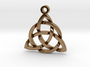 Triquetra Celtic Knot Good Luck Pendant  in Natural Brass