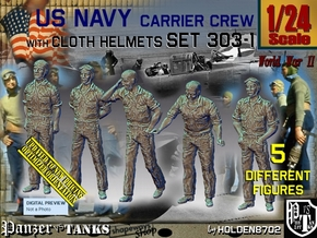 1/24 USN Carrier Deck Crew Set303-1 in White Natural Versatile Plastic
