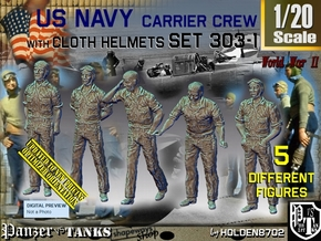 1/20 USN Carrier Deck Crew Set303-1 in White Natural Versatile Plastic