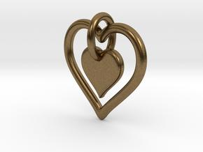 Interlocking heart - custom initial in Natural Bronze (Interlocking Parts)