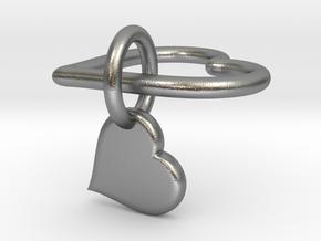 Interlocking heart v2 - custom initial in Interlocking Raw Silver