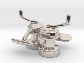 Winch Cufflinks in Rhodium Plated Brass