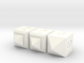 Set of 3 Dice: d10 Bell Curve Pack (3d4-2) in White Processed Versatile Plastic