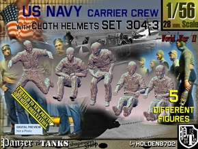 1/56 USN Carrier Deck Crew Set304-3 in Smooth Fine Detail Plastic