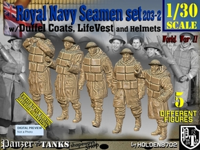 1/30 Royal Navy D-Coat+Lifevst Set203-2 in White Natural Versatile Plastic