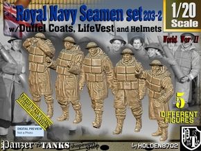1/20 Royal Navy D-Coat+Lifevst Set203-2 in White Natural Versatile Plastic