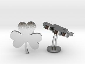 Shamrock 3 Leaf Clover Lucky Wedding Cufflinks in Polished Silver