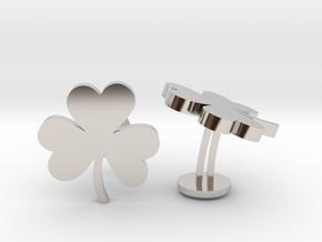 Shamrock 3 Leaf Clover Lucky Wedding Cufflinks in Rhodium Plated Brass