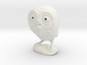 3DP Owl Miniature in White Strong & Flexible