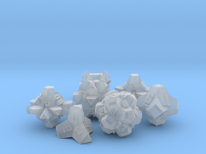 Brutalist Dice Set — Version 2 (7 pc.) in Smooth Fine Detail Plastic