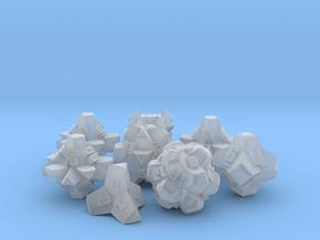 Brutalist Dice Set — Version 2 (8 pc.) in Smooth Fine Detail Plastic