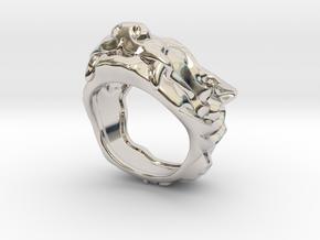 "Fu Dog (Komainu) ""um"" Ring in Rhodium Plated Brass: 7 / 54"