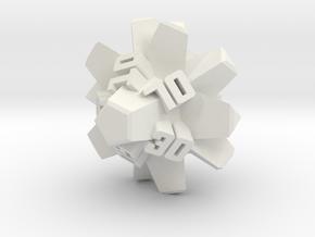 Brutalist Dice Set — Version 2 Singles in White Natural Versatile Plastic: d00