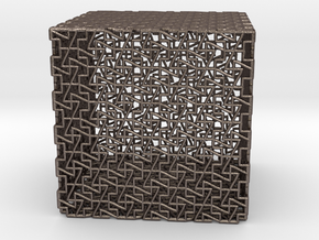 cube p in Polished Bronzed Silver Steel