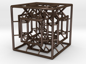 Menger Mixed Cube in Polished Bronze Steel