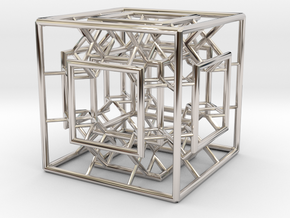 Menger Mixed Cube in Rhodium Plated Brass
