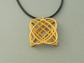 Basket - Pendant in Polished Steel and Polished Ca in Polished Gold Steel