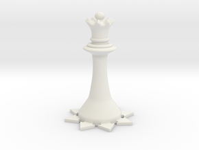 Instructional Chess Set - Queen in White Natural Versatile Plastic: Small