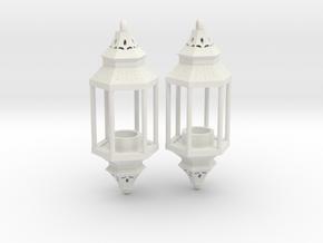 Hanging Lantern Earrings in White Natural Versatile Plastic