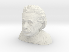 Albert Einstein Bust in White Natural Versatile Plastic: Small