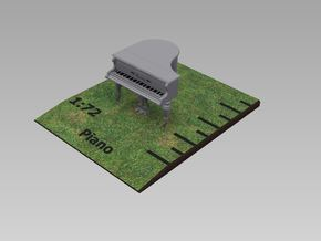1/72nd (20mm) scale Piano in Smooth Fine Detail Plastic