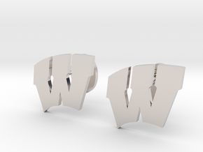 Univeristy of Wisconsin Cufflinks, Customizable in Rhodium Plated Brass