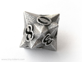 Faceted - D10, ten sided gaming dice in Polished Bronzed Silver Steel